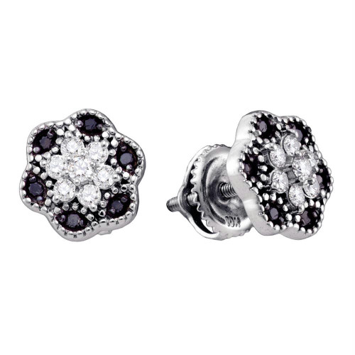 10k White Gold Black Color Enhanced Diamond Womens Flower Cluster Stud Earrings 1/4 Cttw