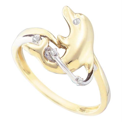 10kt Yellow Gold Womens Round Diamond Dolphin Animal Ring .03 Cttw