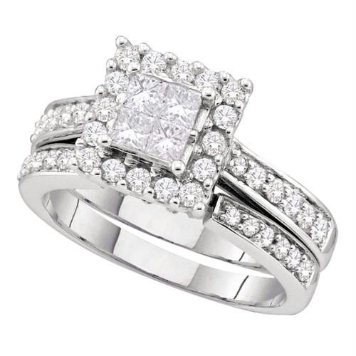 14kt White Gold Womens Princess Diamond Square Halo Bridal Wedding Engagement Ring Band Set 1.00 Cttw
