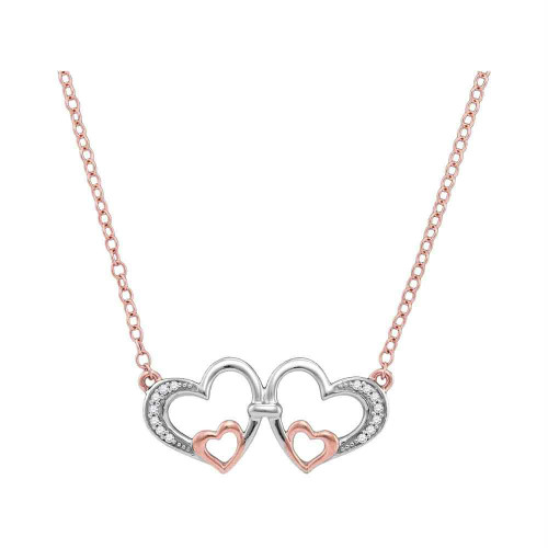 10kt Rose Gold Womens Round Diamond Double Heart Pendant Necklace 1/20 Cttw