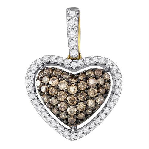 10kt Yellow Gold Womens Round Cognac-brown Color Enhanced Diamond Heart Love Pendant 3/8 Cttw