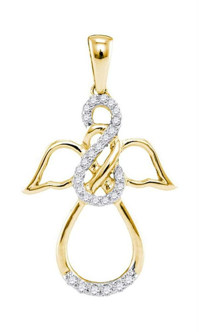 10kt Yellow Gold Womens Round Diamond Infinity Angel Pendant 1/6 Cttw