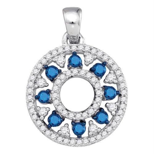 10kt White Gold Womens Round Blue Color Enhanced Diamond Circle Cutout Pendant 1/2 Cttw