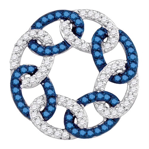 10kt White Gold Womens Round Blue Color Enhanced Diamond Circle Linked Pendant 1/3 Cttw