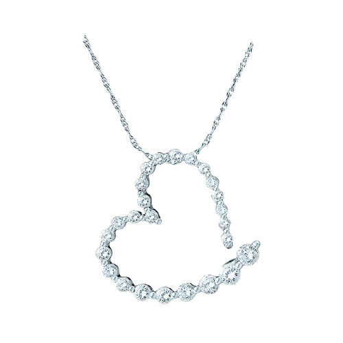 14kt White Gold Womens Round Diamond Graduated Heart Outline Journey Pendant 1/4 Cttw