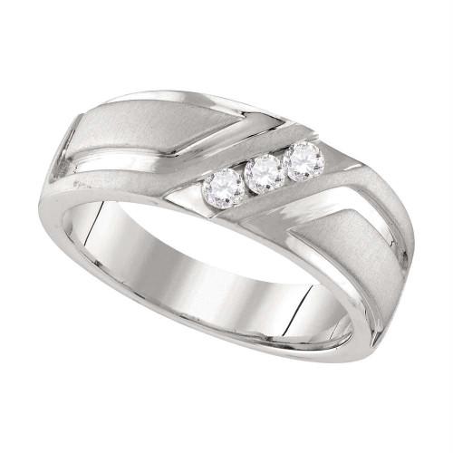 10k White Gold Mens Round Diamond Wedding Anniversary Band Ring 1/4 Cttw