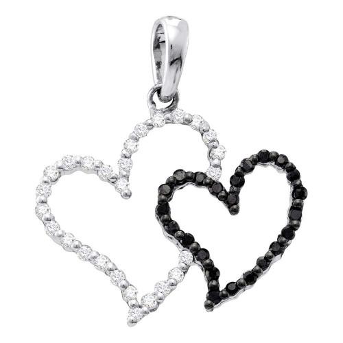 10kt White Gold Womens Round Black Color Enhanced Diamond Double Heart Love Pendant 1/6 Cttw