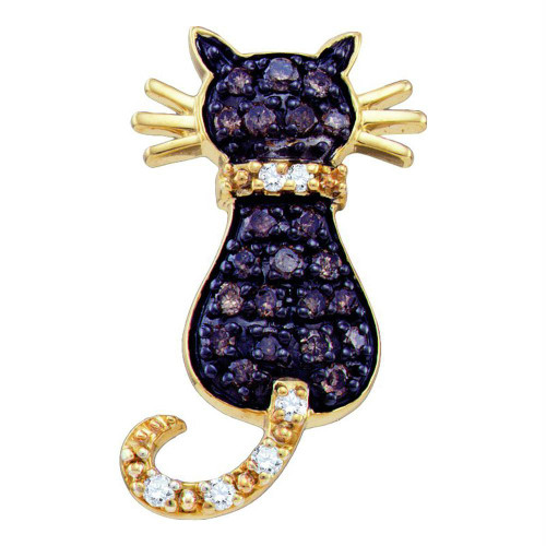 10k Yellow Gold Cognac-brown Color Enhanced Diamond Kitty Cat Womens Pendant 1/3 Cttw