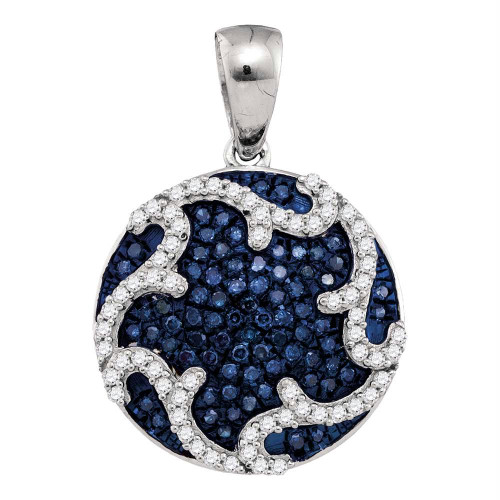 10kt White Gold Womens Round Blue Color Enhanced Diamond Circle Pendant 1/3 Cttw - 92072