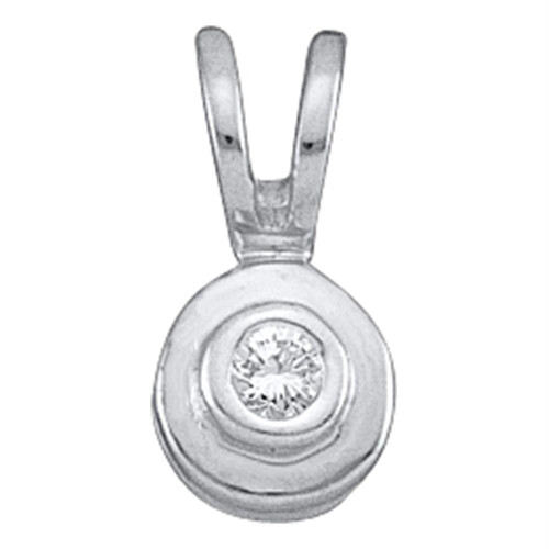 10kt White Gold Womens Round Diamond Solitaire Circle Pendant .03 Cttw
