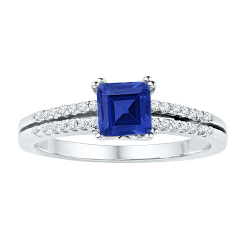 10kt White Gold Womens Princess Lab-Created Blue Sapphire Solitaire Ring 1.00 Cttw