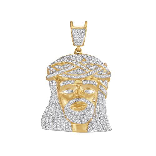 10kt Yellow Gold Mens Round Diamond Jesus Christ Messiah Charm Pendant 1-1/4 Cttw