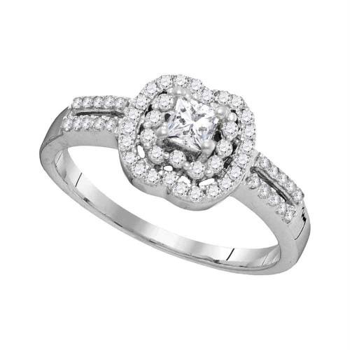 10k White Gold Womens Princess Diamond Solitaire Bridal Wedding Engagement Ring 1/2 Cttw