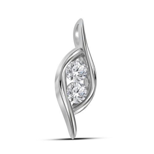 14kt White Gold Womens Round Diamond 2-stone Hearts Together Pendant 1/4 Cttw