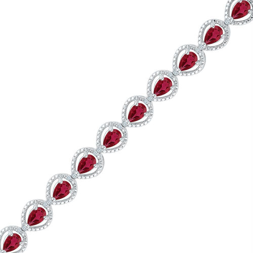Sterling Silver Womens Oval Lab-Created Ruby Tennis Bracelet 5-7/8 Cttw