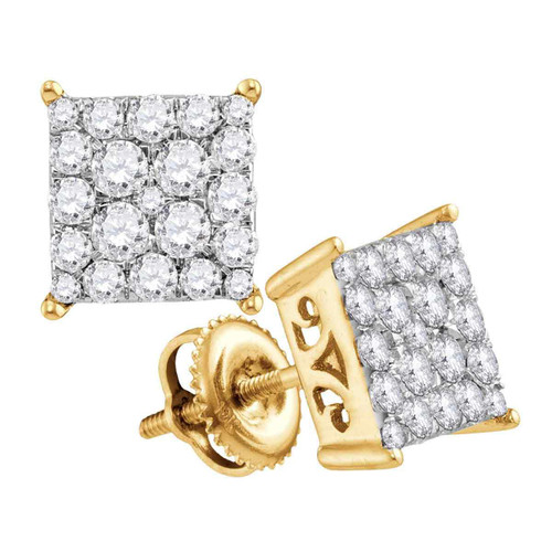 10kt Yellow Gold Womens Round Diamond Square Cluster Stud Earrings 1.00 Cttw