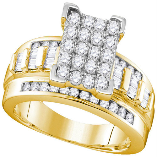 10kt Yellow Gold Womens Round Diamond Rectangle Cluster Bridal Wedding Engagement Ring 7/8 Cttw - Size 6.5