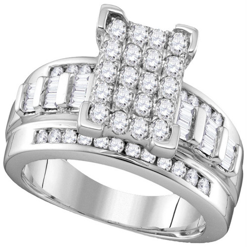 10kt White Gold Womens Round Diamond Rectangle Cluster Bridal Wedding Engagement Ring 7/8 Cttw - Size 9 - 113385