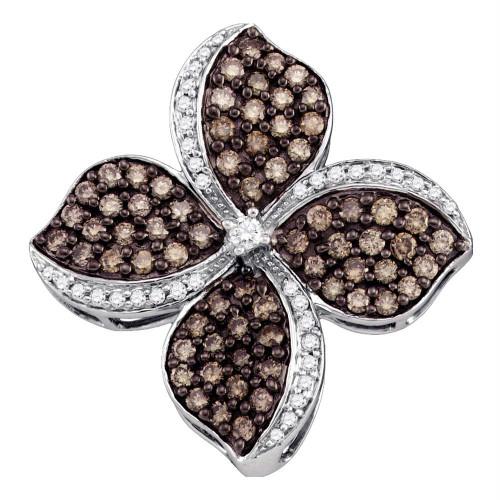 10kt White Gold Womens Round Cognac-brown Color Enhanced Diamond Flower Cluster Pendant 1.00 Cttw