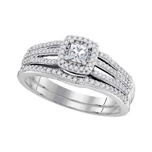 10k White Gold Womens Princess Diamond Bridal Wedding Engagement Ring Band Set 1/2 Cttw