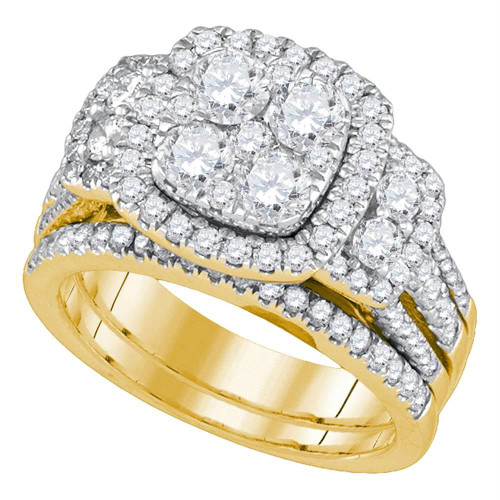 14kt Yellow Gold Womens Round Diamond Cluster Bridal Wedding Engagement Ring Band Set 2.00 Cttw - 86830