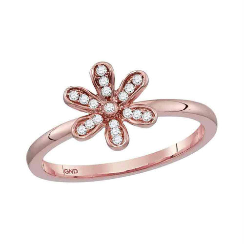 10kt Rose Gold Womens Round Diamond Flower Floral Stackable Band Ring 1/10 Cttw