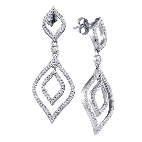 10k White Gold Womens Round Diamond Screwback Stud Dangle Oval Earrings 3/4 Cttw