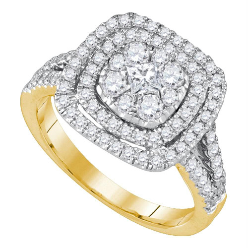 14kt Yellow Gold Womens Princess Diamond Cluster Bridal Wedding Engagement Ring 1.00 Cttw - 86554