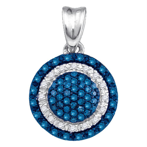 10kt White Gold Womens Round Blue Color Enhanced Diamond Circle Frame Cluster Pendant 1/4 Cttw