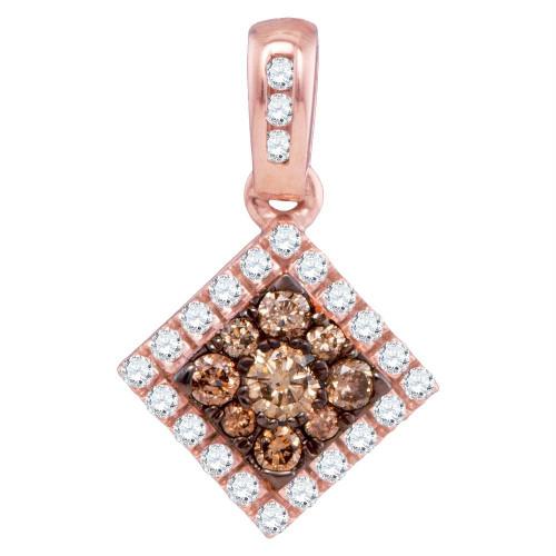 10kt Rose Gold Womens Round Cognac-brown Color Enhanced Diamond Diagonal Square Frame Pendant 1/3 Cttw