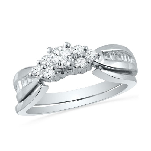 10k White Gold Womens Round Diamond Bridal Wedding Engagement Ring Band Set 1/2 Cttw - 101577-10
