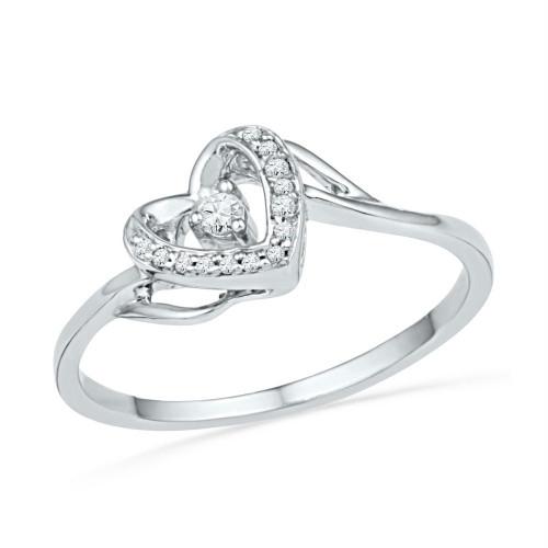 10kt White Gold Womens Round Diamond Heart Love Promise Bridal Ring 1/12 Cttw