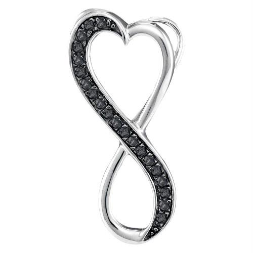 10kt White Gold Womens Round Black Color Enhanced Diamond Vertical Infinity Heart Pendant 1/10 Cttw
