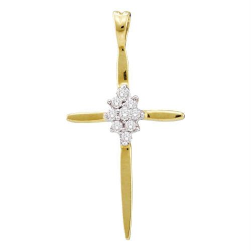 10kt Yellow Gold Womens Round Diamond Cluster Cross Religious Pendant 1/20 Cttw