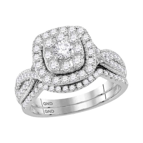 14kt White Gold Womens Round Diamond Halo Bridal Wedding Engagement Ring Band Set 1.00 Cttw - 118484