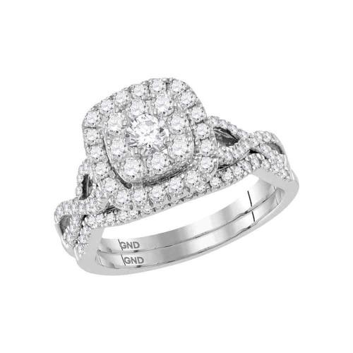 14kt White Gold Womens Round Diamond Halo Bridal Wedding Engagement Ring Band Set 1.00 Cttw - 118475