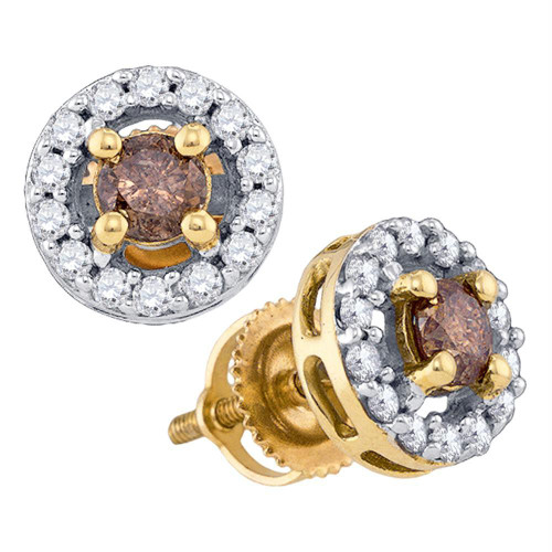 10k Yellow Gold Womens Cognac-brown Color Enhanced Round Diamond Screwback Stud Earrings 3/4 Cttw