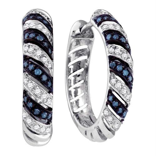 10k White Gold Blue Color Enhanced Round Diamond Womens Horiztonal Stripe Lightweight Hoop Earrings 1/2 Cttw
