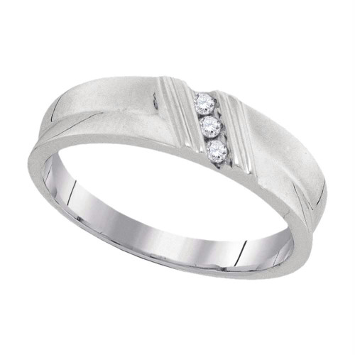 10k White Gold Round Diamond Channel-set Mens Masculine Lightweight Wedding Band Ring 1/20 Cttw