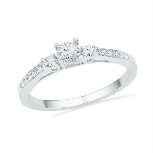 10kt White Gold Womens Round Diamond 3-stone Promise Bridal Ring 1/6 Cttw