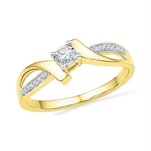 10kt Yellow Gold Womens Round Diamond Solitaire Promise Bridal Ring 1/10 Cttw - 100238-5