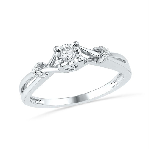10kt White Gold Womens Round Diamond Solitaire Twist Promise Bridal Ring 1/10 Cttw