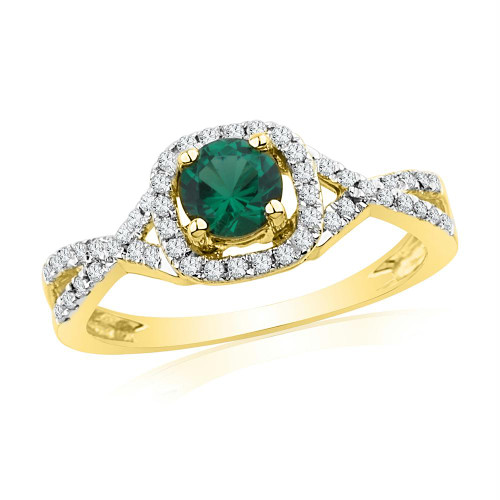 10kt Yellow Gold Womens Round Lab-Created Emerald Solitaire Diamond Ring 3/4 Cttw - 101159-5