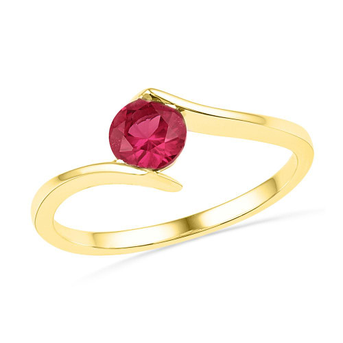10kt Yellow Gold Womens Round Lab-Created Ruby Solitaire Ring 3/4 Cttw