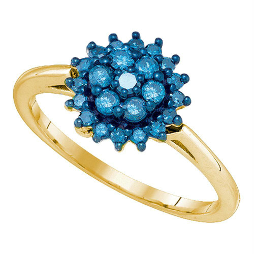 10kt Yellow Gold Womens Round Blue Color Enhanced Diamond Flower Cluster Ring 3/8 Cttw