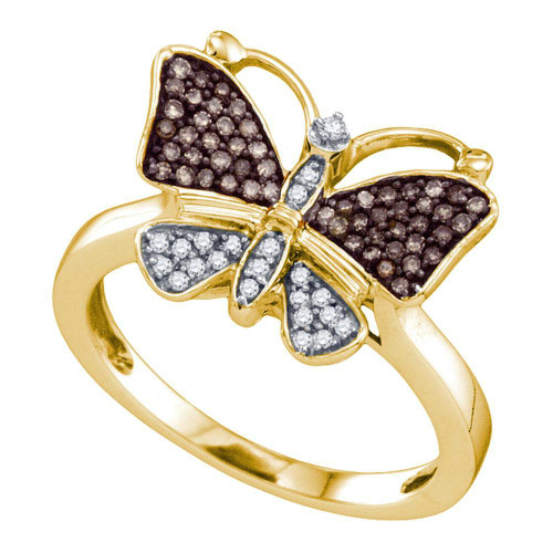 10k Yellow Gold Womens Cognac-brown Color Enhanced Round Diamond Cluster Butterfly Bug Ring 1/5 Cttw