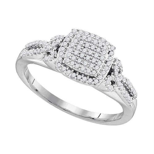 10kt White Gold Womens Round Diamond Square Cluster Bridal Wedding Engagement Ring 1/3 Cttw - 97796