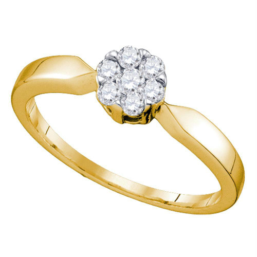 10k Yellow Gold Flower Cluster Diamond Womens Bridal Wedding Engagement Ring 1/4 Cttw