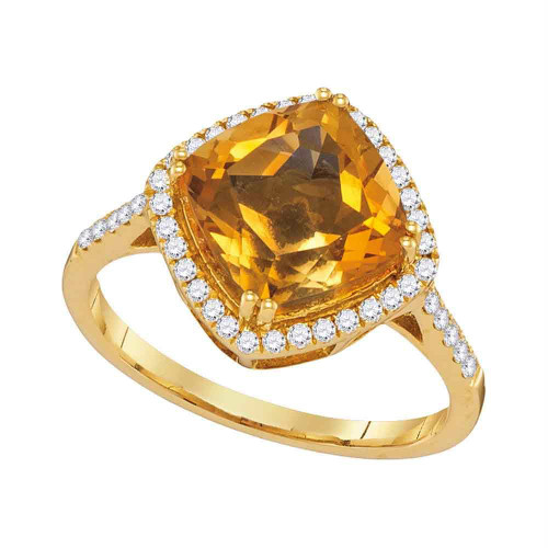 14kt Yellow Gold Womens Diagonal Cushion Citrine Solitaire Diamond Ring 2-3/4 Cttw