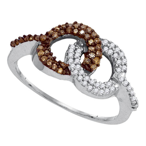 10kt White Gold Womens Round Cognac-brown Color Enhanced Diamond Linked Circle Ring 1/3 Cttw